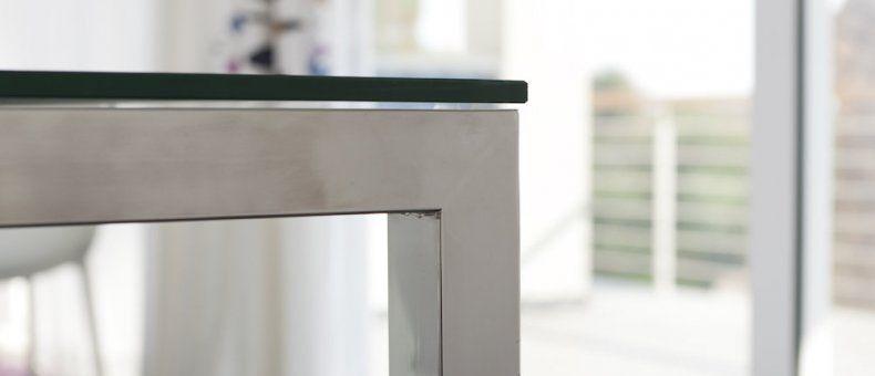 Tavolo in acciaio inox e vetro temperato lucidato a - Tavolo vetro e acciaio ...